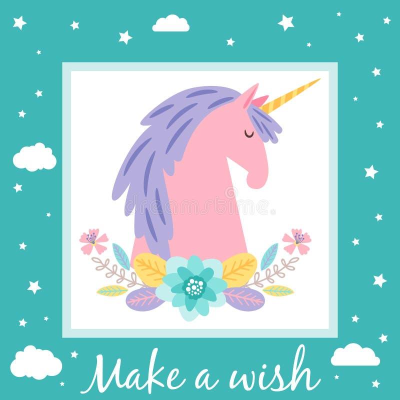 做与逗人喜爱的独角兽和星的一块愿望卡片模板 皇族释放例证