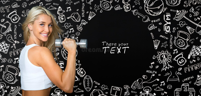 做与重量的运动小姐锻炼在黑色和凹道 免版税库存图片