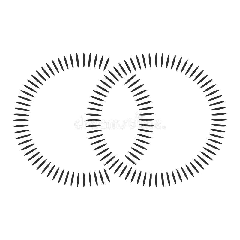 做两个相交的圆环的黑同心形状 抽象几何形状 适用于商标,产品烙记等 皇族释放例证