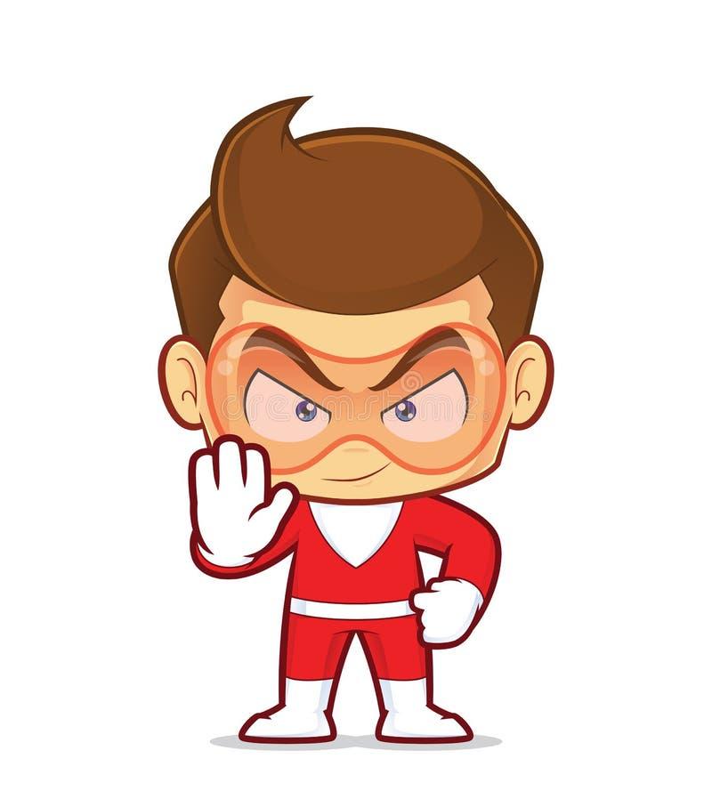 做中止手标志的超级英雄 向量例证