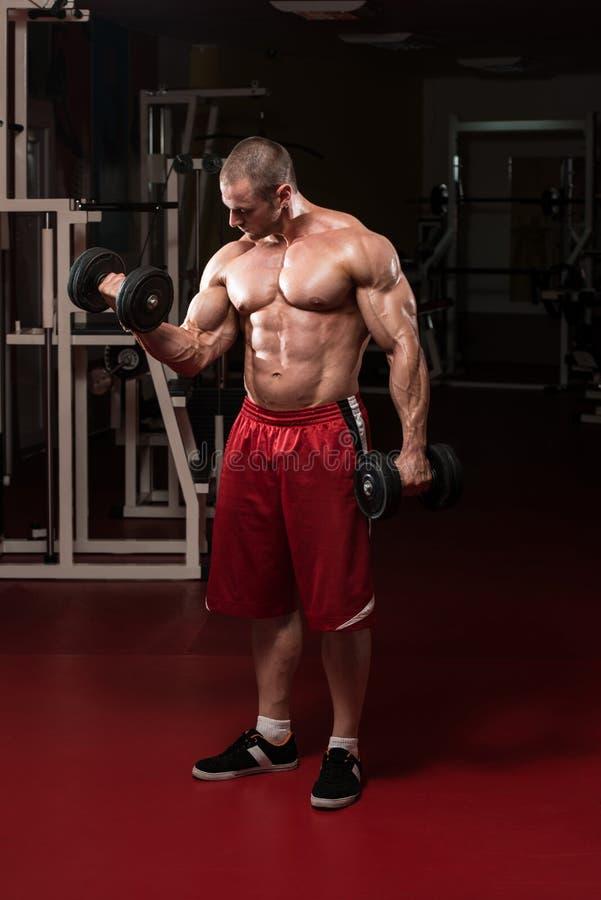 做二头肌的肌肉人重量级的锻炼 图库摄影