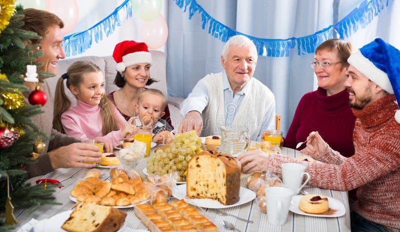 做交谈的微笑的家庭成员 库存图片