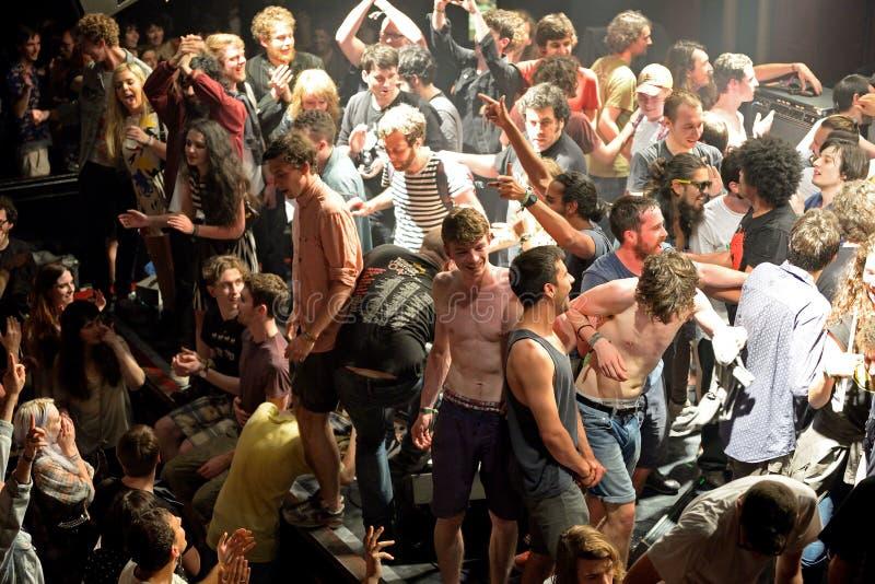 做人群的观众冲浪在音乐会在海涅肯Primavera声音2014年节日 库存照片