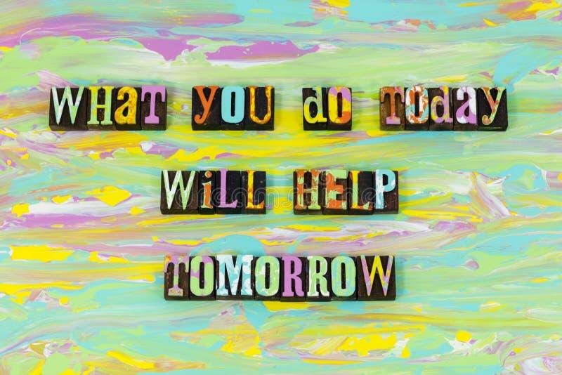 做什么帮助今天明天成功准备印刷术字体 向量例证
