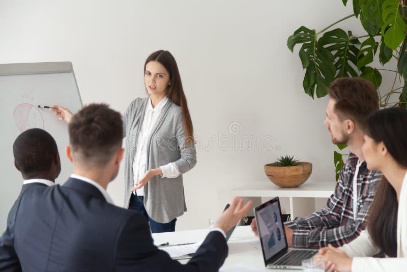 做介绍的女性报告人在工友的flipchart 免版税库存照片