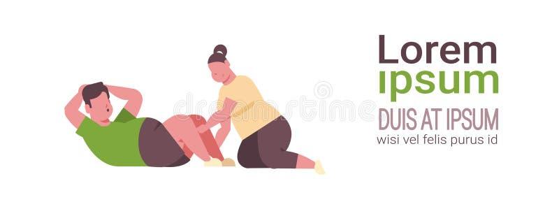 做仰卧起坐超重人妇女的肥胖肥胖夫妇行使一起训练锻炼减肥概念白色 皇族释放例证
