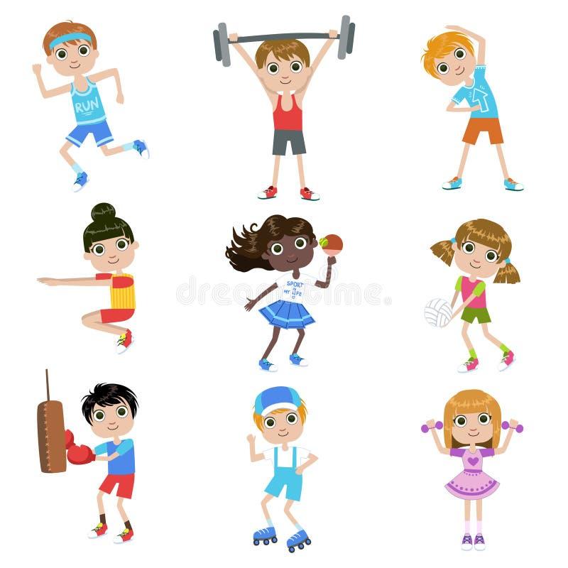 做体育的孩子被设置 向量例证