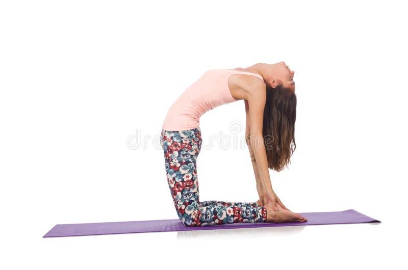 做体育锻炼的少妇被隔绝 免版税库存图片
