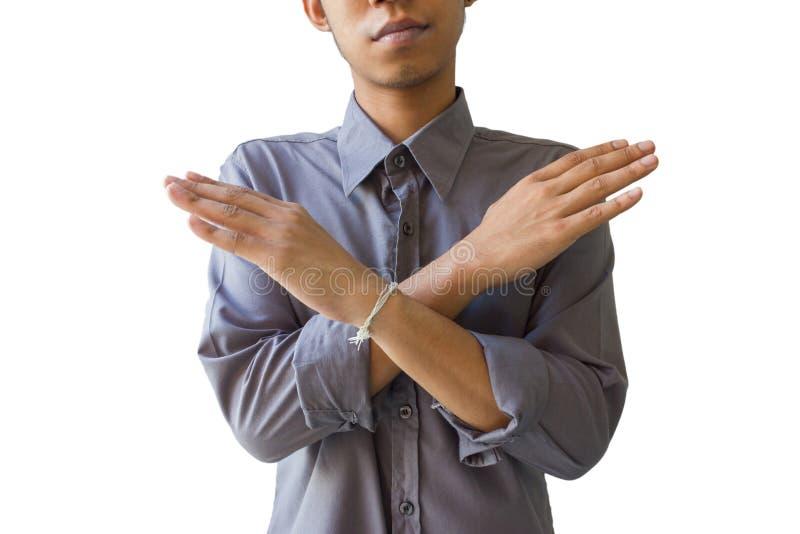 做停车牌用手的年轻商人,被隔绝在白色 免版税库存图片