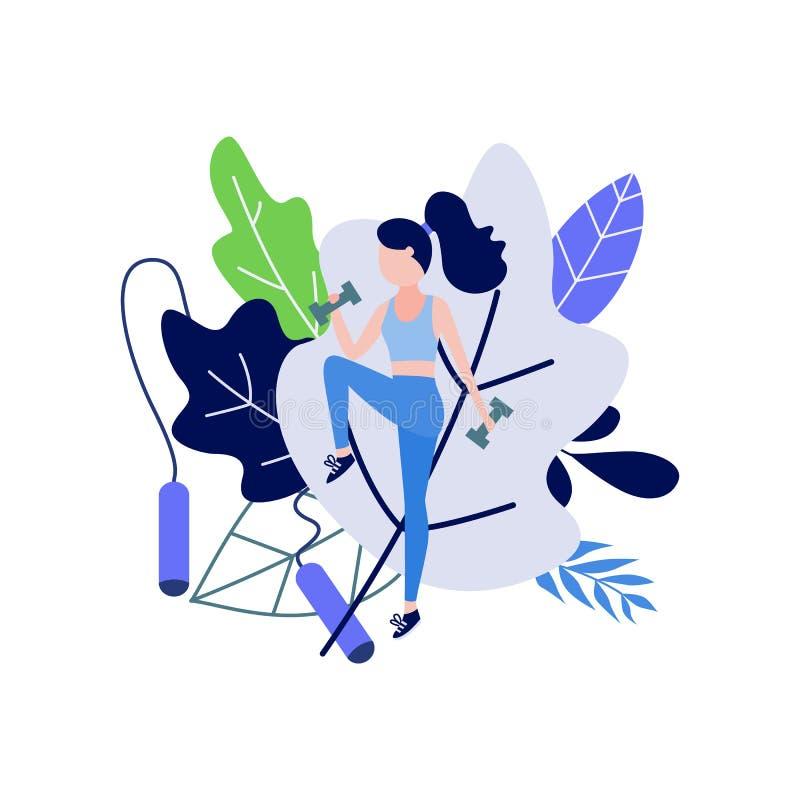 做健身的少妇行使与重量反对装饰叶子和跳绳 库存例证