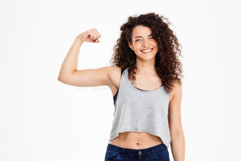 做健身锻炼的健身卷曲女孩 库存图片
