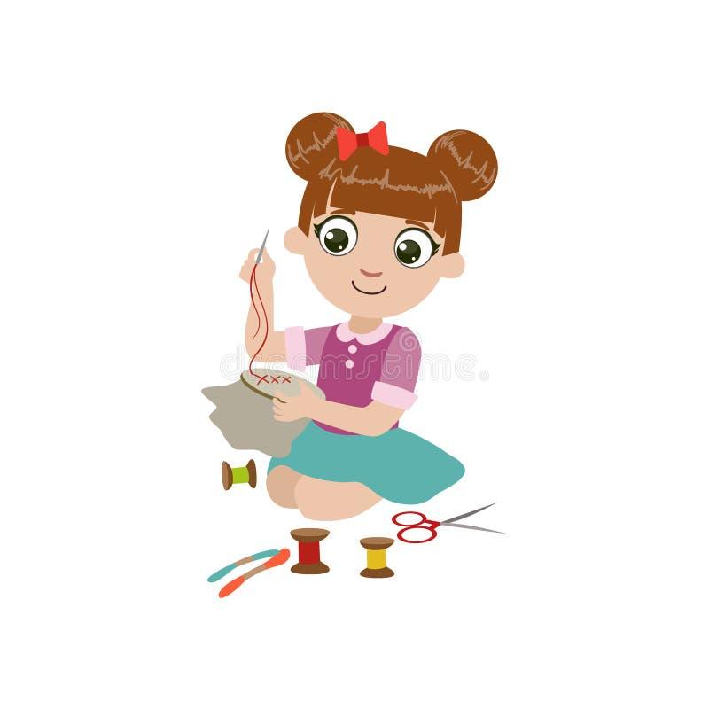做刺绣的女孩 库存例证