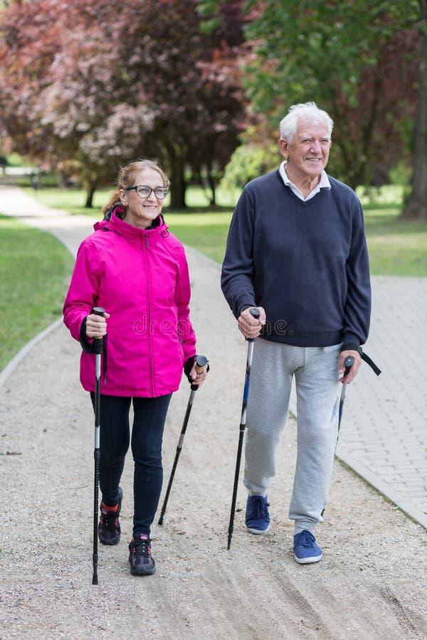 做北欧人走的年长夫妇 免版税库存照片