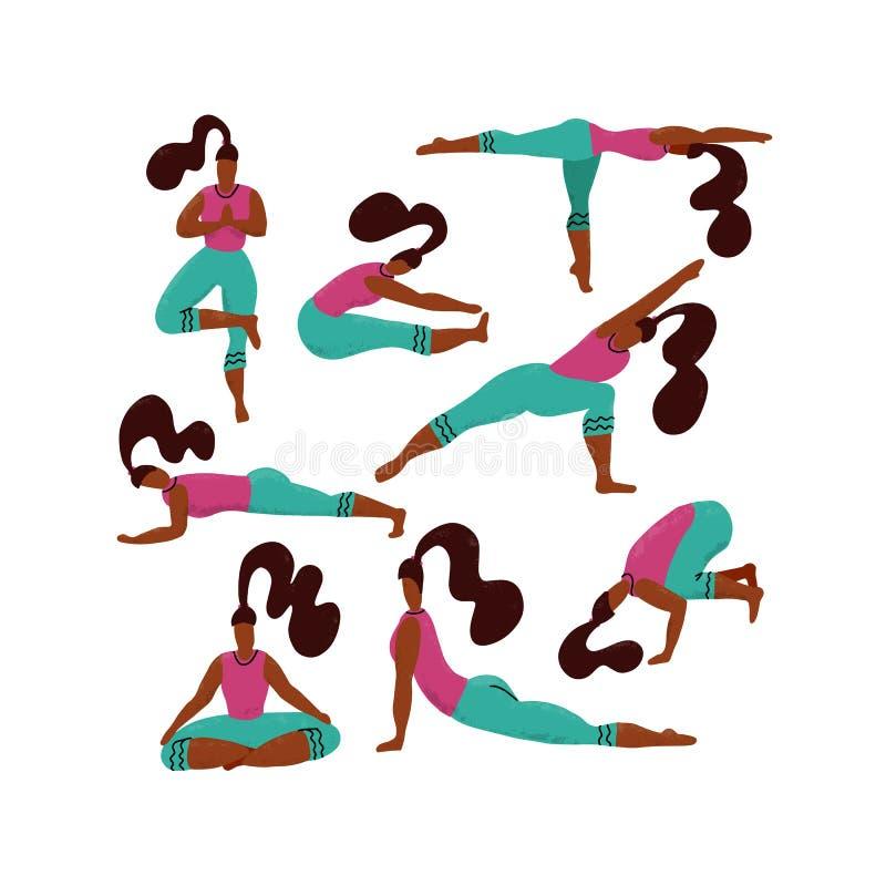做变化瑜伽锻炼的设置8妇女 瑜伽女孩汇集 女孩用不同的asanas 手拉的卡通人物体育 库存例证