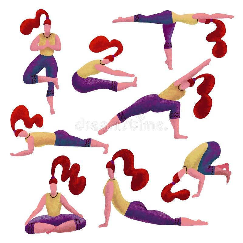 做变化瑜伽锻炼的设置8红发妇女 瑜伽女孩汇集 女孩用不同的asanas 被构造的手拉 向量例证