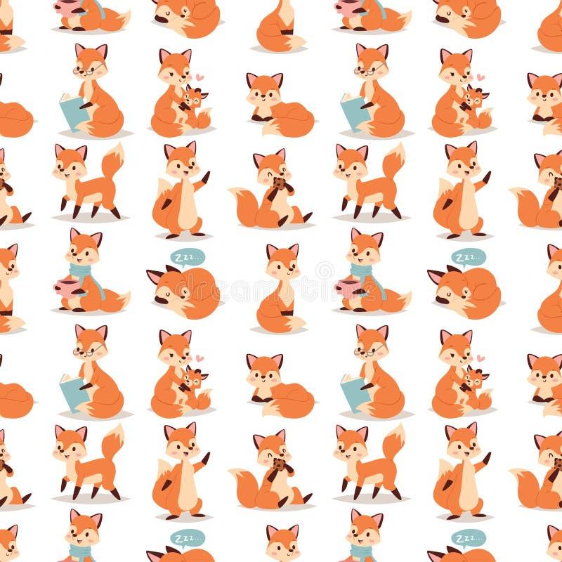 做另外活动滑稽的愉快的自然红色狡猾的逗人喜爱的可爱的尾巴和野生生物桔子森林的Fox字符 皇族释放例证