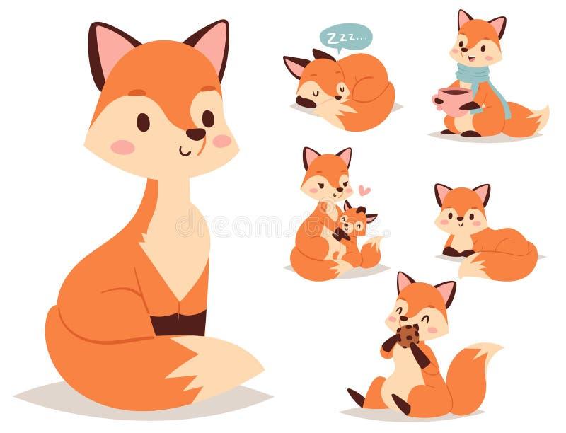做另外狡猾的活动滑稽的愉快的自然红色尾巴和野生生物橙色森林动物样式的Fox字符 向量例证