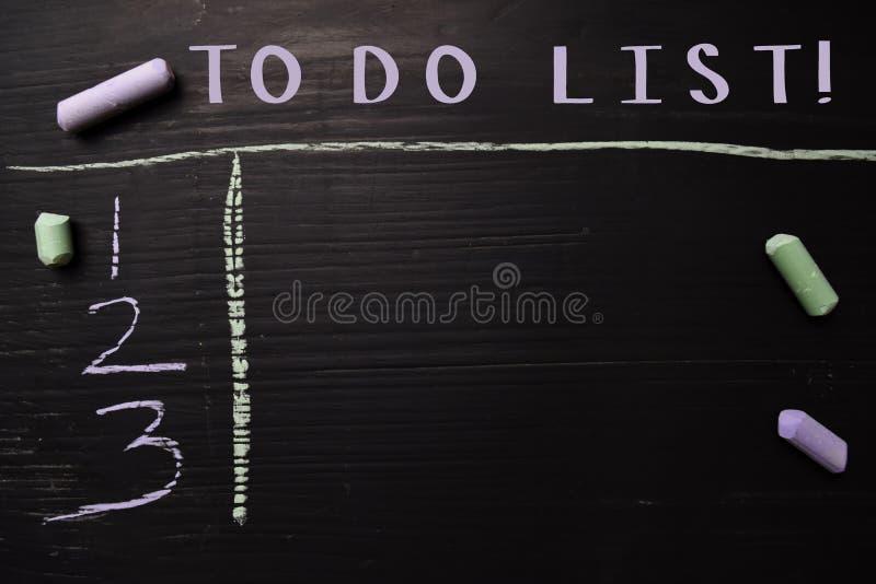 做名单!写与颜色白垩 支持由附加业务 黑板概念 免版税库存照片