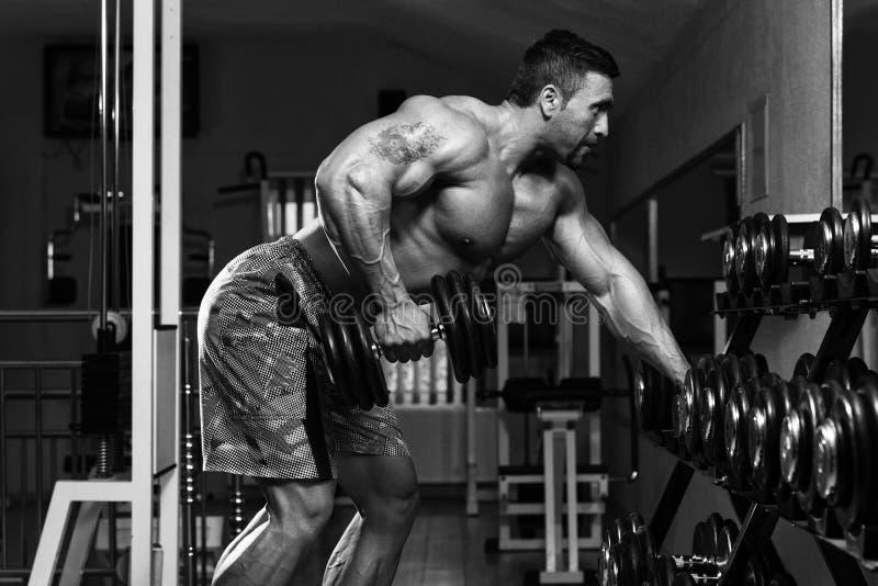 做后面的爱好健美者重量级的锻炼 库存照片