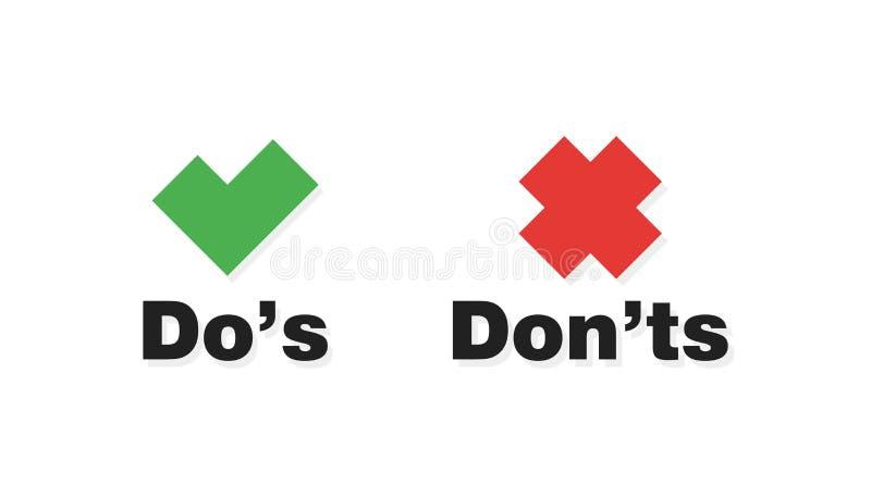 做和不要检查在白色背景和红十字象隔绝的壁虱标记 库存例证