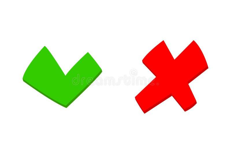 做和不要检查票挑选选择绿色红色平的象 库存例证