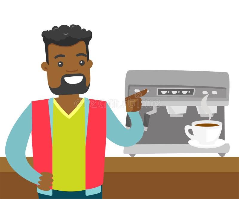 做咖啡的年轻非裔美国人的人 向量例证
