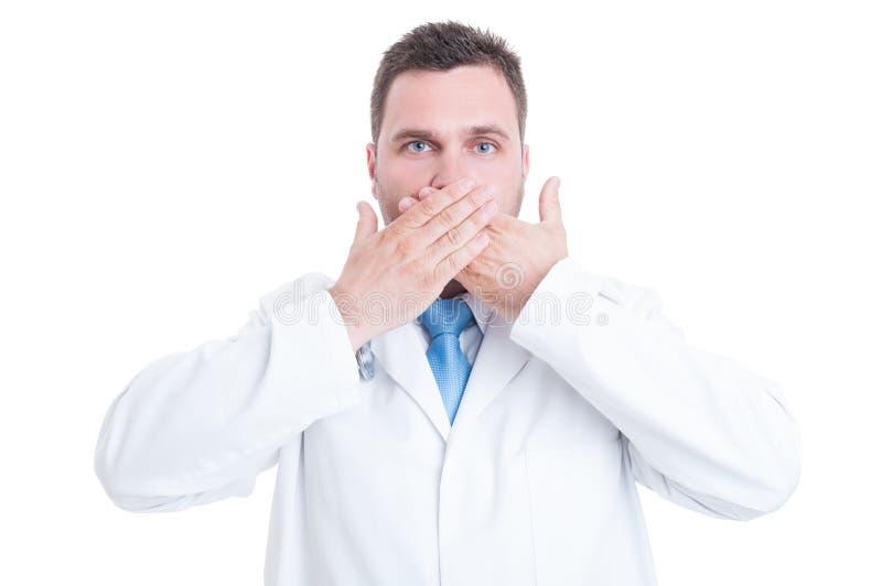 做哑姿态的男性军医或医生的概念 免版税图库摄影