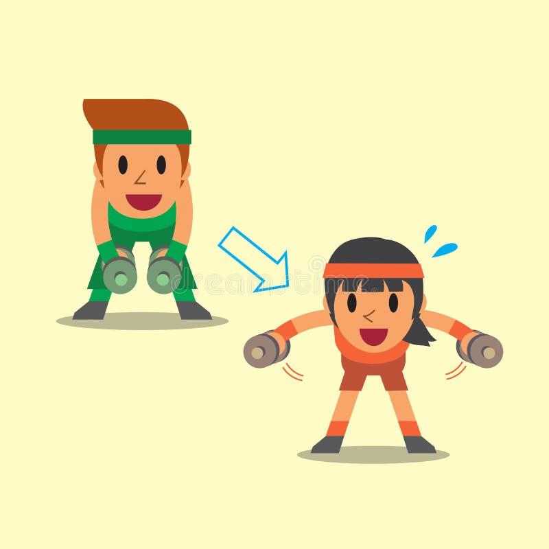 做哑铃的动画片男人和妇女弯曲了在侧向培养锻炼步训练 皇族释放例证