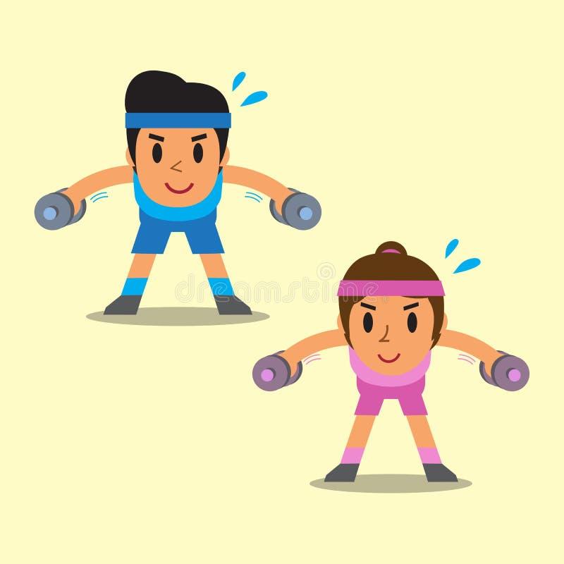 做哑铃的动画片男人和妇女弯曲了在侧向培养锻炼 库存例证