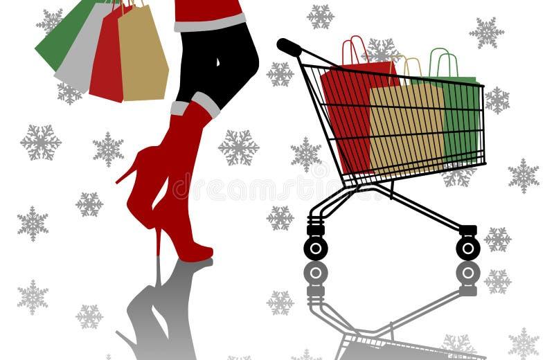 做圣诞节购物的妇女 皇族释放例证