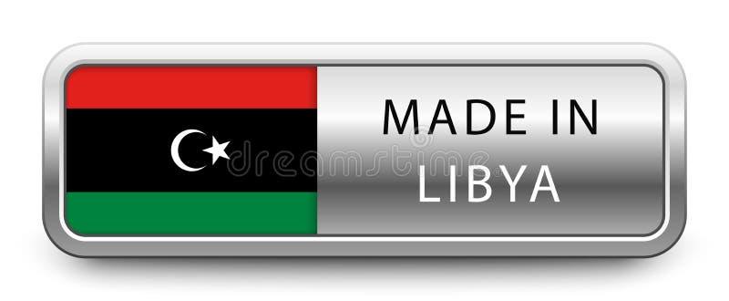 做在与被隔绝的国旗的利比亚金属徽章在白色背景 向量例证