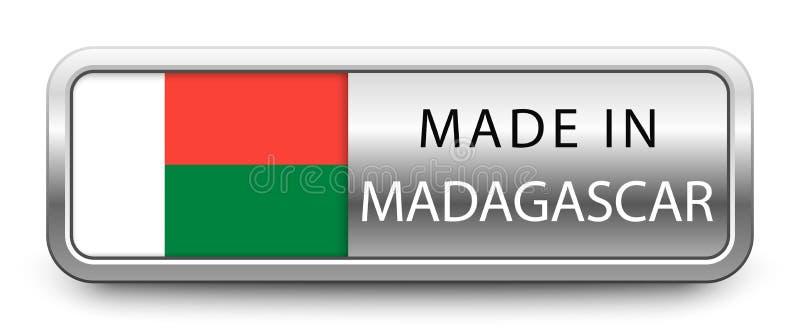 做在与被隔绝的国旗的马达加斯加金属徽章在白色背景 向量例证
