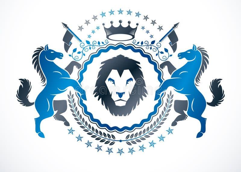 做在传染媒介纹章学设计和被创造使用优美的马和狂放的狮子例证、皇家冠和月桂树的葡萄酒象征 库存例证
