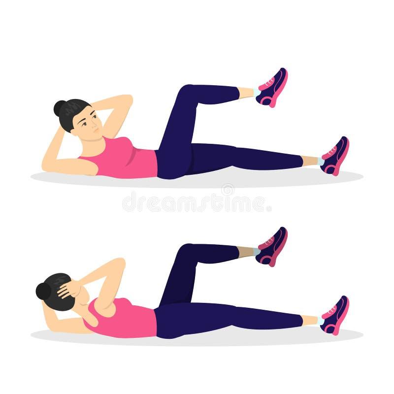 做在健身房的妇女咬嚼 腹部烧伤 皇族释放例证