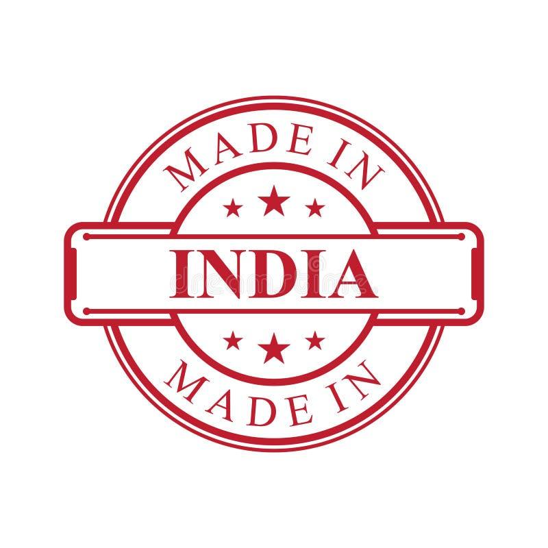 做在印度与红色象征的标签象在白色背景 库存例证