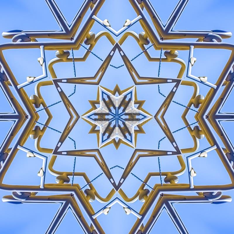 做在天空的方形的框架金属射线一个特征模式 库存例证