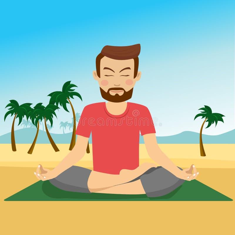 做在席子的年轻人瑜伽在热带海滩 皇族释放例证