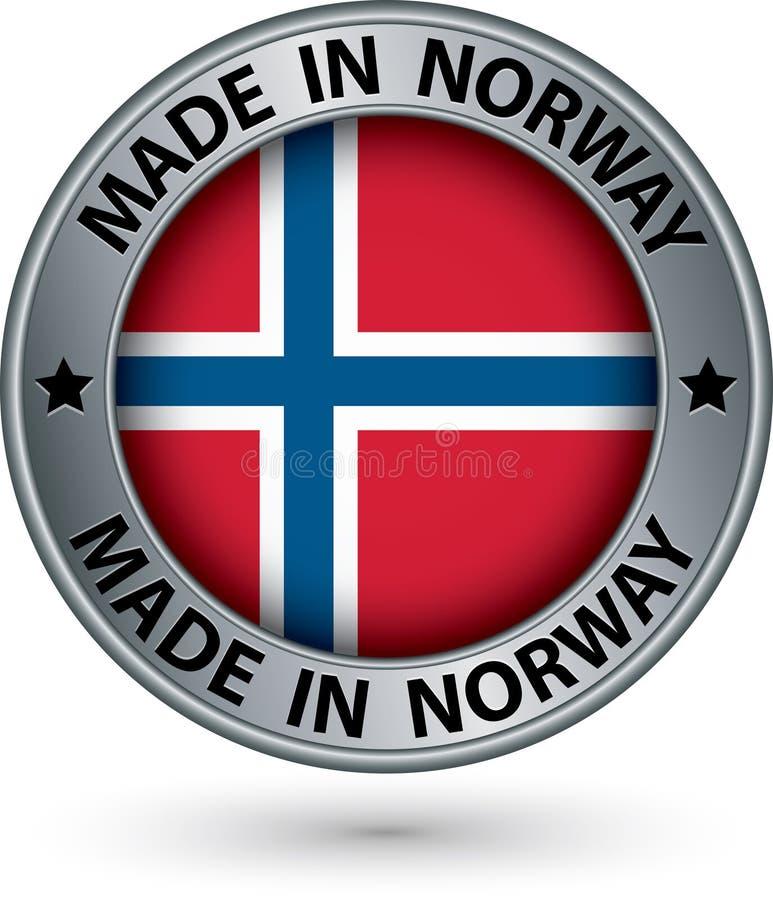 做在挪威与旗子的银标签,传染媒介例证 库存例证