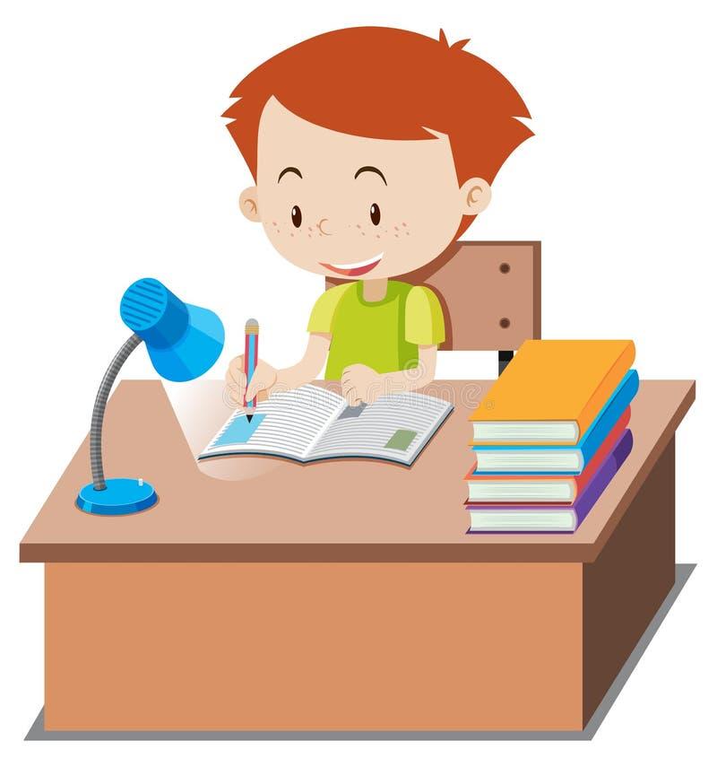 做在桌上的小男孩家庭作业 向量例证