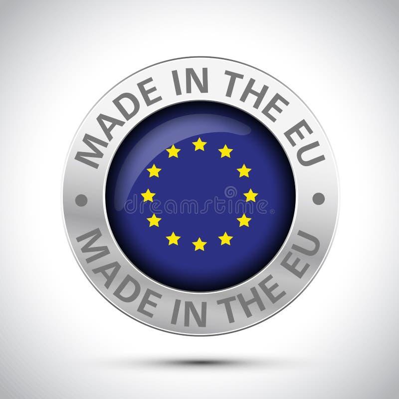 做在欧盟旗子金属象 库存例证