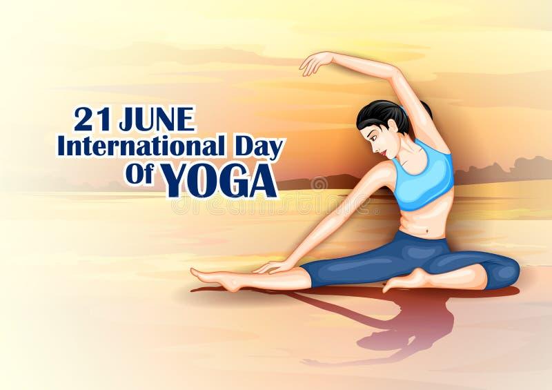 做在海报设计的妇女的例证瑜伽姿势庆祝的国际瑜伽天 向量例证