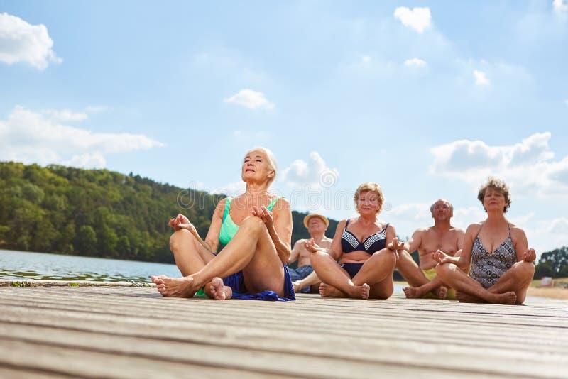 做在湖的小组前辈瑜伽锻炼 免版税库存图片