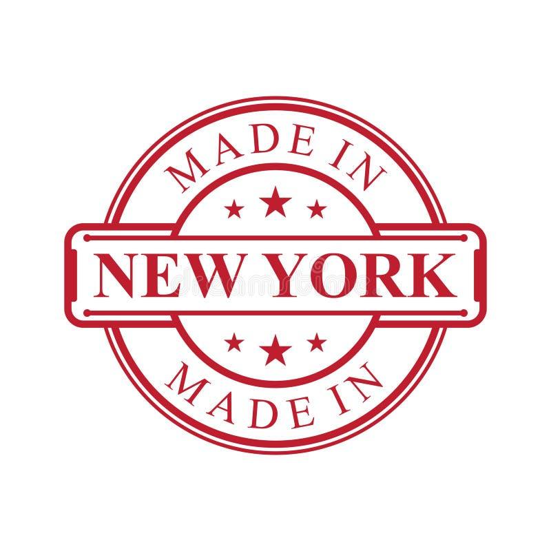 做在纽约与红色象征的标签象在白色背景 库存例证