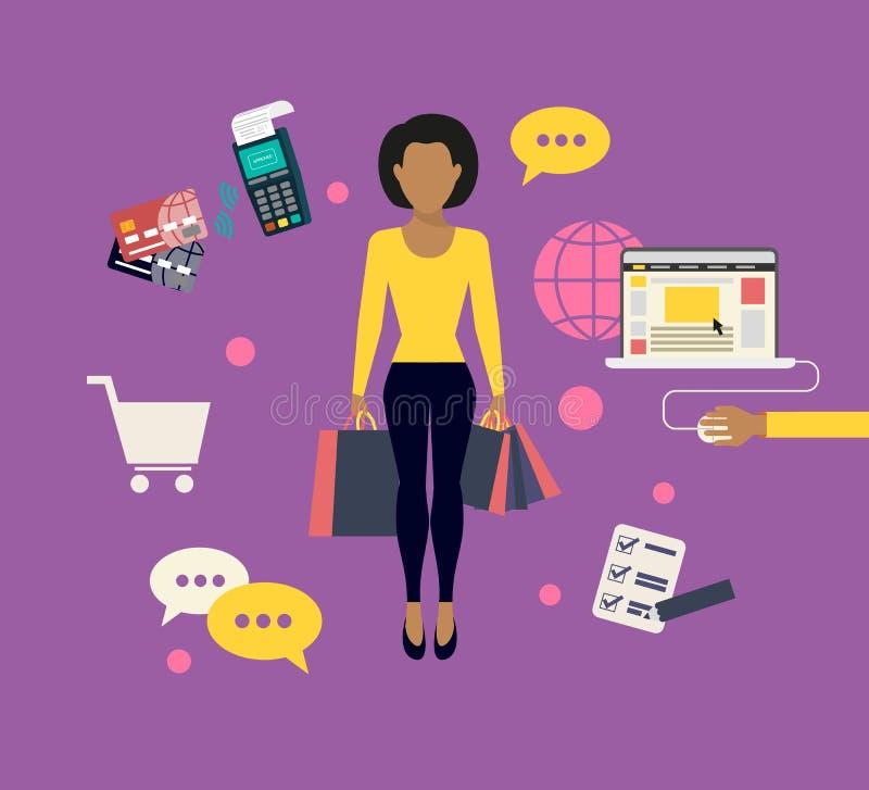 做在网上购物的妇女 库存例证