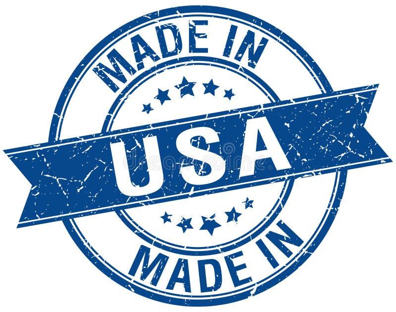 做在美国蓝色圆的邮票 库存例证