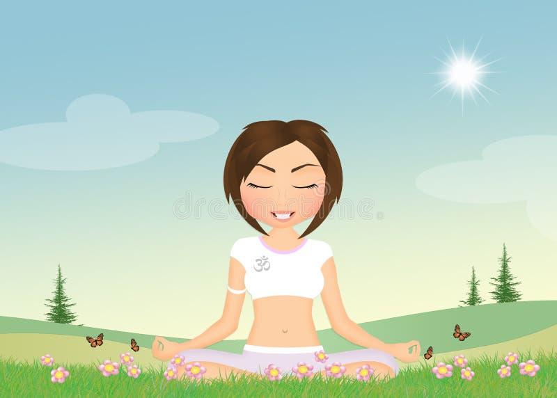 做在自然的女孩瑜伽 库存例证