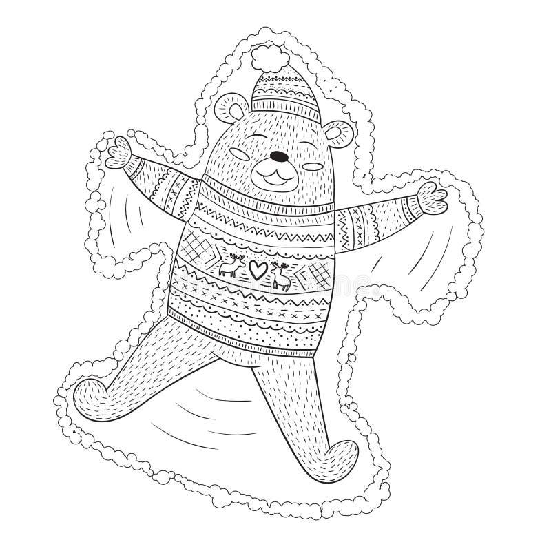 做在逗人喜爱的swea的上色页可爱的棕熊雪天使 皇族释放例证
