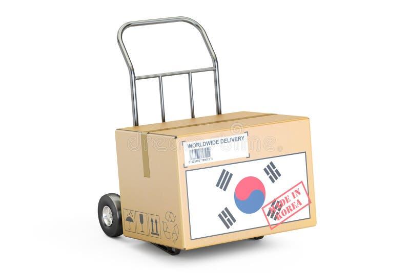 做在韩国概念 纸板箱在手边卡车, 3D ren 皇族释放例证