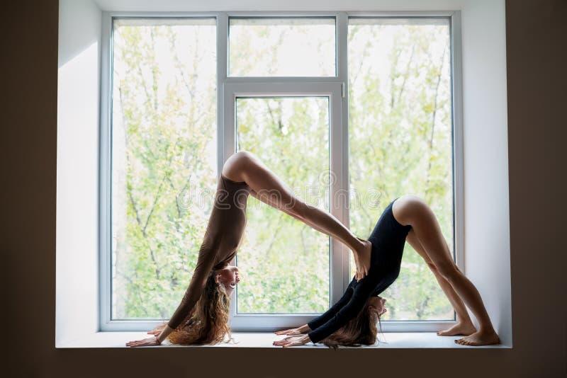 做在风的两名美丽的妇女瑜伽asana双向下狗 免版税图库摄影