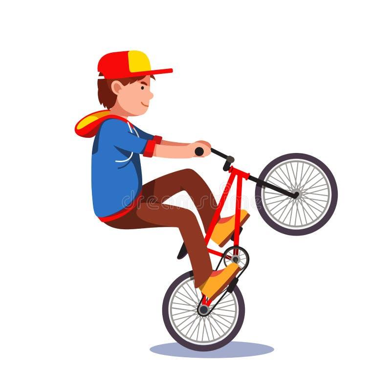 做在bmx自行车的青少年的孩子自行车前轮离地平衡特技特技 向量例证